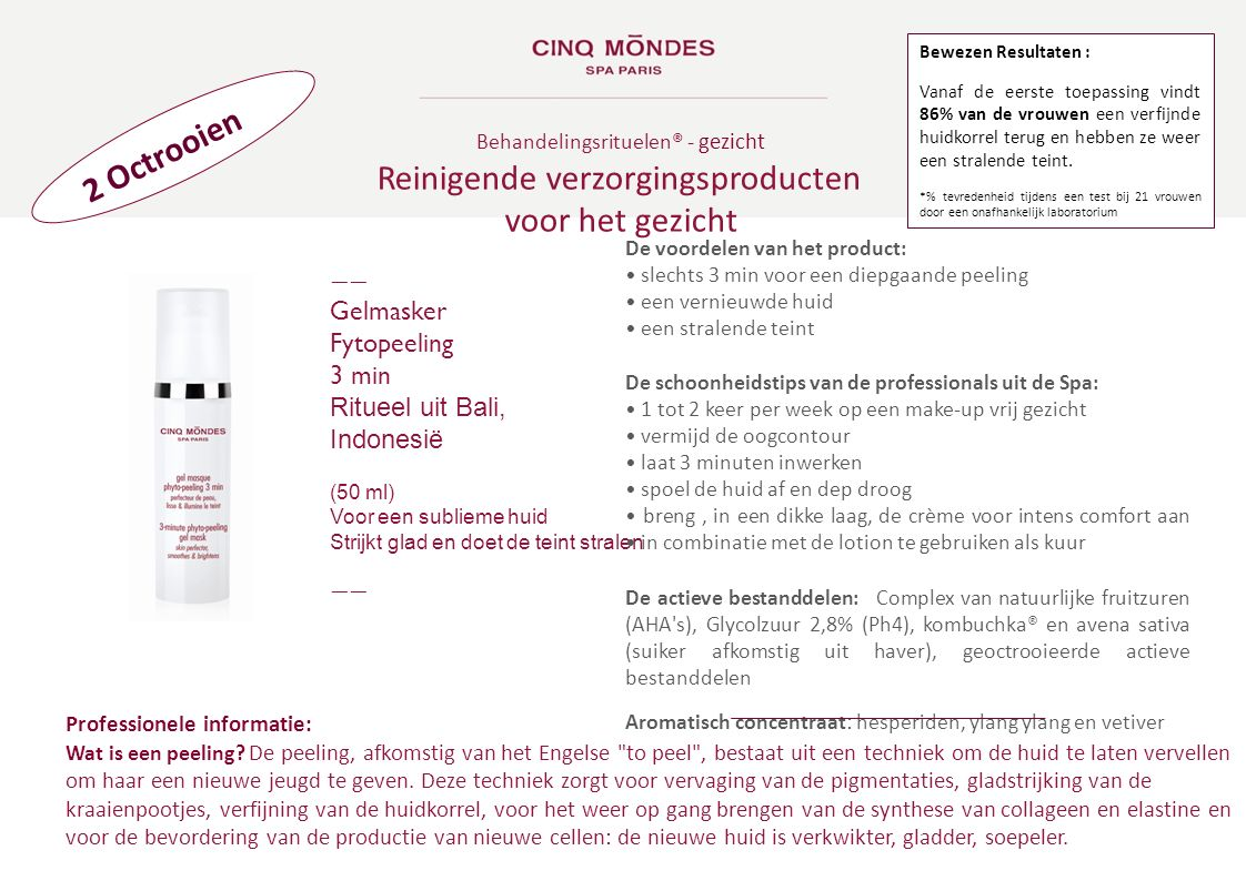 2 Octrooien Behandelingsrituelen ® - gezicht Reinigende verzorgingsproducten voor het gezicht ―― Gelmasker Fytopeeling 3 min Ritueel uit Bali, Indones