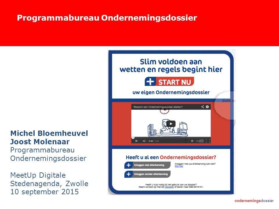 ondernemingsdossier Programmabureau Ondernemingsdossier Michel Bloemheuvel Joost Molenaar Programmabureau Ondernemingsdossier MeetUp Digitale Stedenagenda, Zwolle 10 september 2015