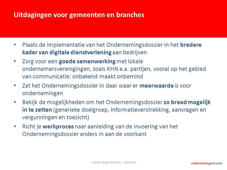 ondernemingsdossier Uitdagingen voor gemeenten en branches Plaats de implementatie van het Ondernemingsdossier in het bredere kader van digitale diens