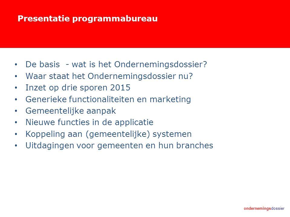 ondernemingsdossier Presentatie programmabureau De basis - wat is het Ondernemingsdossier? Waar staat het Ondernemingsdossier nu? Inzet op drie sporen