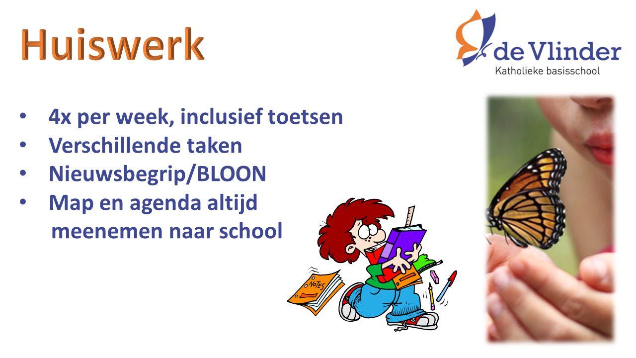 4x per week, inclusief toetsen Verschillende taken Nieuwsbegrip/BLOON Map en agenda altijd meenemen naar school