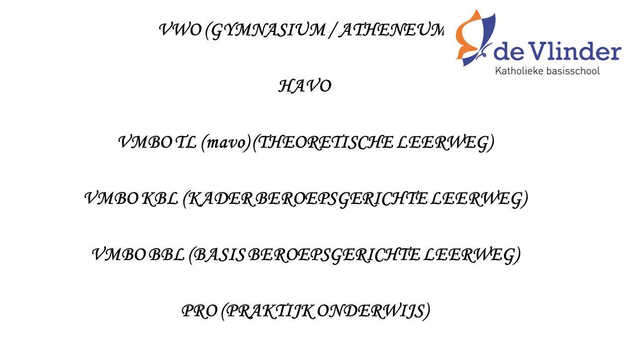 VWO (GYMNASIUM / ATHENEUM) HAVO VMBO TL (mavo) (THEORETISCHE LEERWEG) VMBO KBL (KADER BEROEPSGERICHTE LEERWEG) VMBO BBL (BASIS BEROEPSGERICHTE LEERWEG