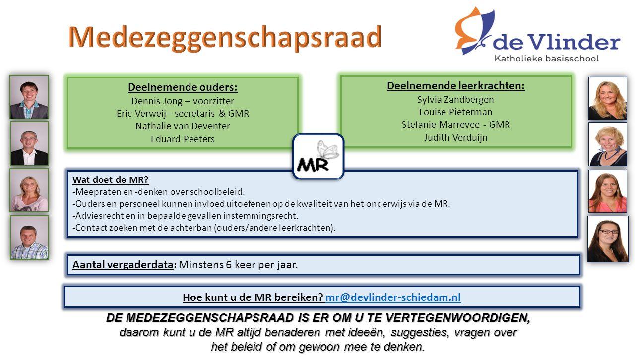 Deelnemende ouders: Dennis Jong – voorzitter Eric Verweij– secretaris & GMR Nathalie van Deventer Eduard Peeters Deelnemende ouders: Dennis Jong – voo