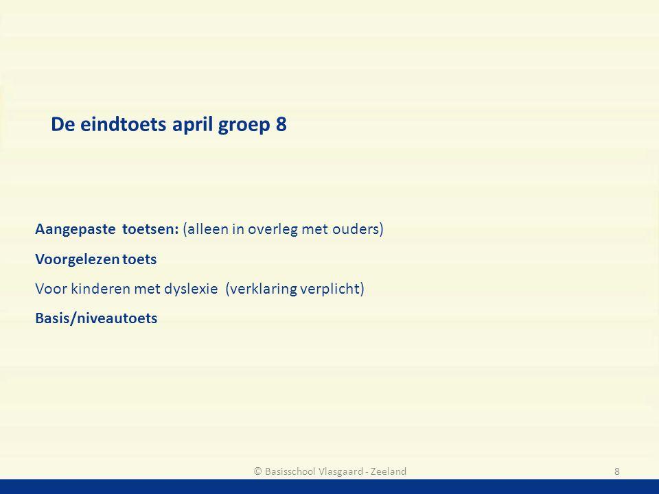 De eindtoets april groep 8 Aangepaste toetsen: (alleen in overleg met ouders) Voorgelezen toets Voor kinderen met dyslexie (verklaring verplicht) Basi