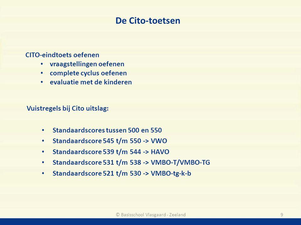 Vuistregels bij Cito uitslag: Standaardscores tussen 500 en 550 Standaardscore 545 t/m 550 -> VWO Standaardscore 539 t/m 544 -> HAVO Standaardscore 53
