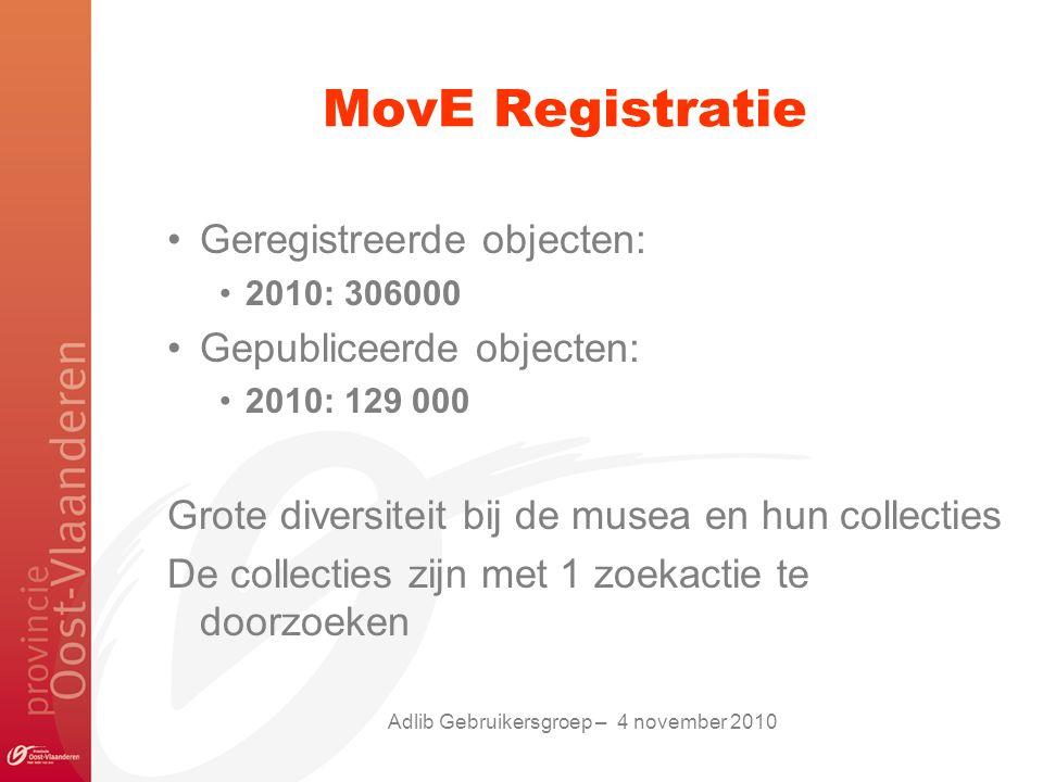 MovE Registratie Geregistreerde objecten: 2010: 306000 Gepubliceerde objecten: 2010: 129 000 Grote diversiteit bij de musea en hun collecties De collecties zijn met 1 zoekactie te doorzoeken Adlib Gebruikersgroep – 4 november 2010