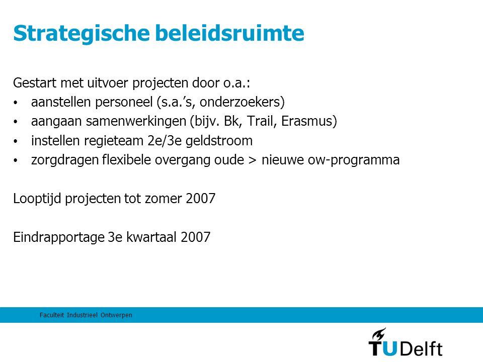 Faculteit Industrieel Ontwerpen Strategische beleidsruimte Gestart met uitvoer projecten door o.a.: aanstellen personeel (s.a.'s, onderzoekers) aangaan samenwerkingen (bijv.