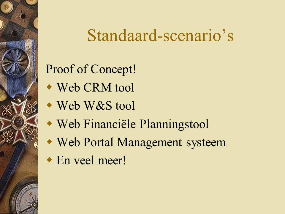 Standaard-scenario's Proof of Concept.