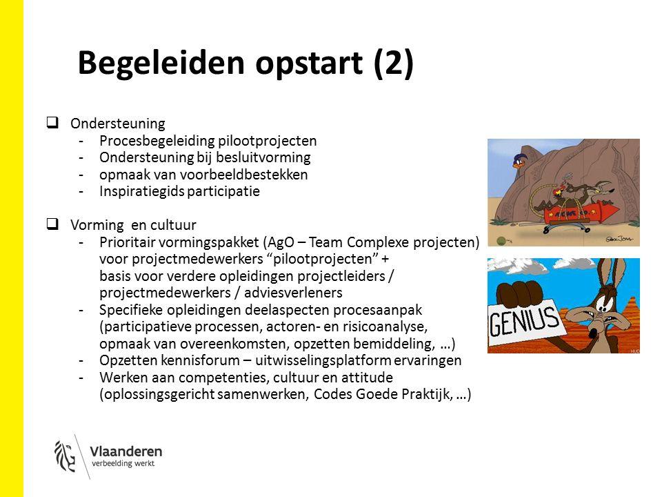 Begeleiden opstart (2)  Ondersteuning -Procesbegeleiding pilootprojecten -Ondersteuning bij besluitvorming -opmaak van voorbeeldbestekken -Inspiratiegids participatie  Vorming en cultuur -Prioritair vormingspakket (AgO – Team Complexe projecten) voor projectmedewerkers pilootprojecten + basis voor verdere opleidingen projectleiders / projectmedewerkers / adviesverleners -Specifieke opleidingen deelaspecten procesaanpak (participatieve processen, actoren- en risicoanalyse, opmaak van overeenkomsten, opzetten bemiddeling, …) -Opzetten kennisforum – uitwisselingsplatform ervaringen -Werken aan competenties, cultuur en attitude (oplossingsgericht samenwerken, Codes Goede Praktijk, …)