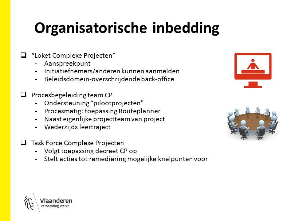 Organisatorische inbedding  Loket Complexe Projecten -Aanspreekpunt -Initiatiefnemers/anderen kunnen aanmelden -Beleidsdomein-overschrijdende back-office  Procesbegeleiding team CP -Ondersteuning pilootprojecten -Procesmatig: toepassing Routeplanner -Naast eigenlijke projectteam van project -Wederzijds leertraject  Task Force Complexe Projecten -Volgt toepassing decreet CP op -Stelt acties tot remediëring mogelijke knelpunten voor