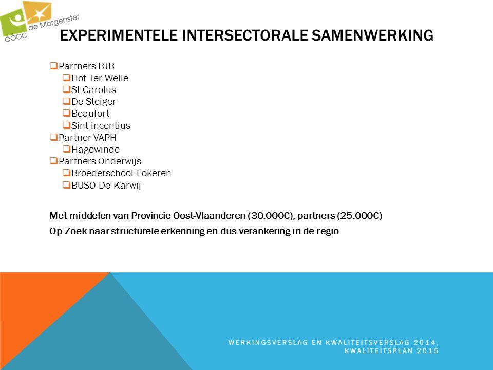 EXPERIMENTELE INTERSECTORALE SAMENWERKING WERKINGSVERSLAG EN KWALITEITSVERSLAG 2014, KWALITEITSPLAN 2015  Partners BJB  Hof Ter Welle  St Carolus 