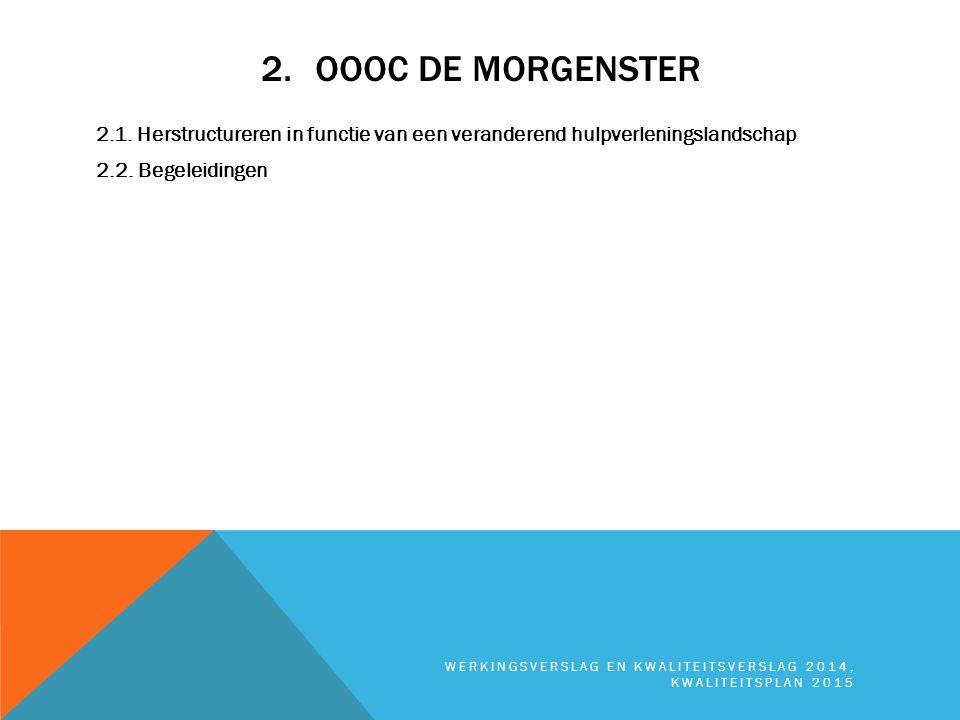 2.OOOC DE MORGENSTER 2.1. Herstructureren in functie van een veranderend hulpverleningslandschap 2.2. Begeleidingen WERKINGSVERSLAG EN KWALITEITSVERSL