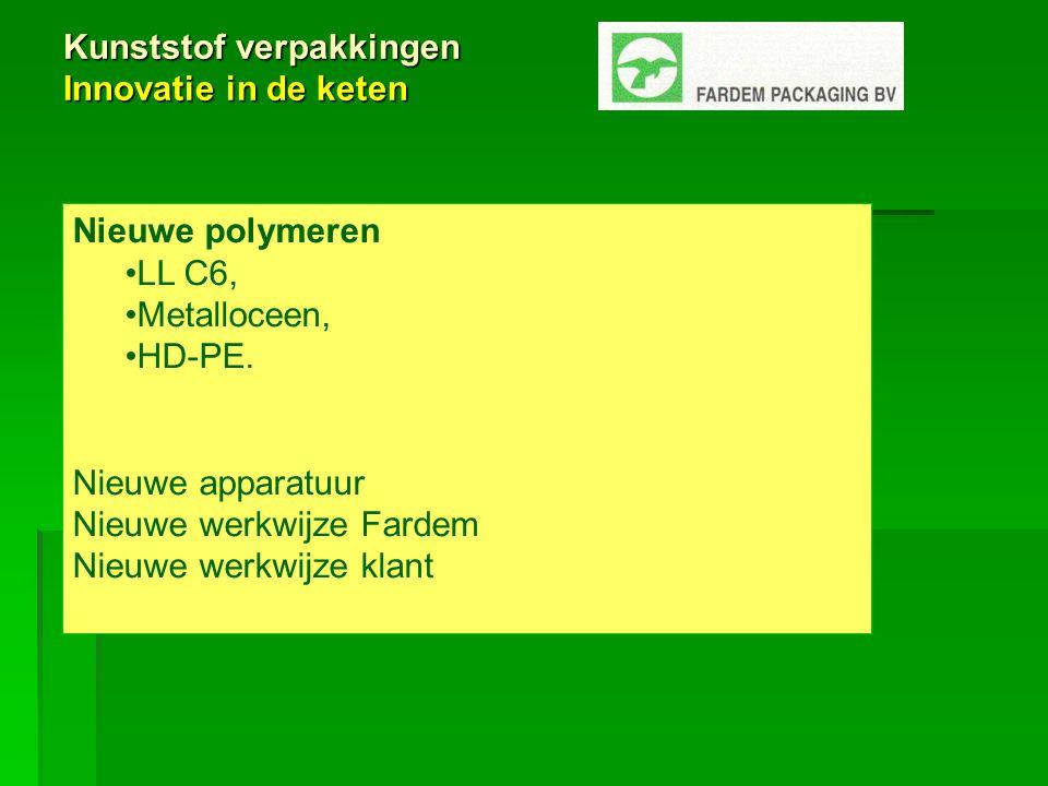 Kunststof verpakkingen Innovatie in de keten Nieuwe polymeren LL C6, Metalloceen, HD-PE.