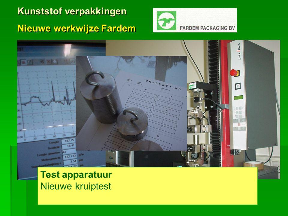 Kunststof verpakkingen Nieuwe werkwijze Fardem Test apparatuur Nieuwe kruiptest