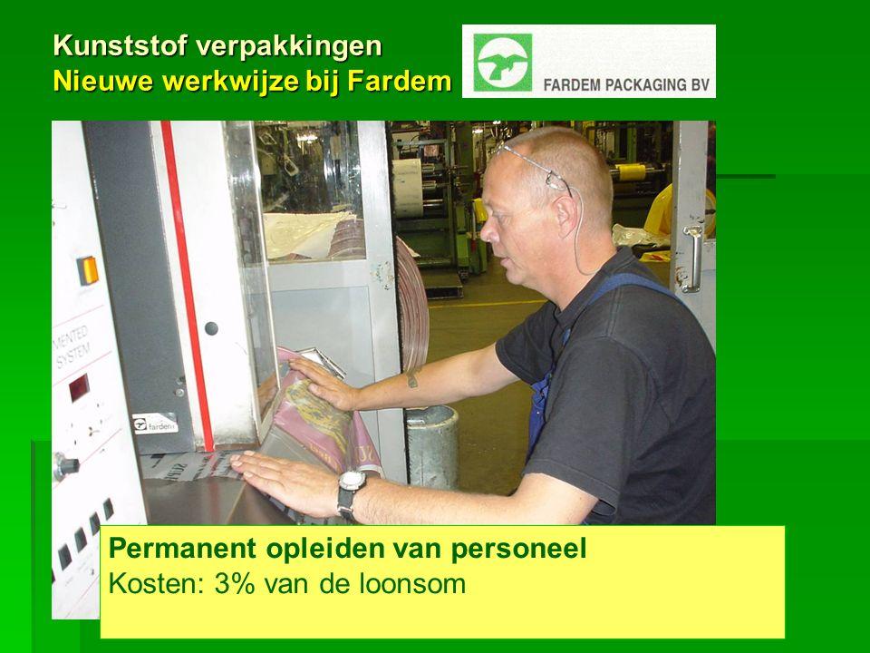 Kunststof verpakkingen Nieuwe werkwijze bij Fardem Permanent opleiden van personeel Kosten: 3% van de loonsom