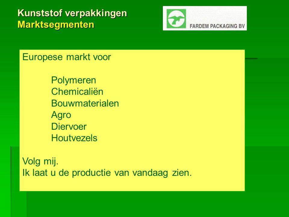 Kunststof verpakkingen Marktsegmenten Europese markt voor Polymeren Chemicaliën Bouwmaterialen Agro Diervoer Houtvezels Volg mij.