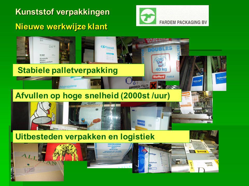 Kunststof verpakkingen Nieuwe werkwijze klant Stabiele palletverpakking Uitbesteden verpakken en logistiek Afvullen op hoge snelheid (2000st /uur)