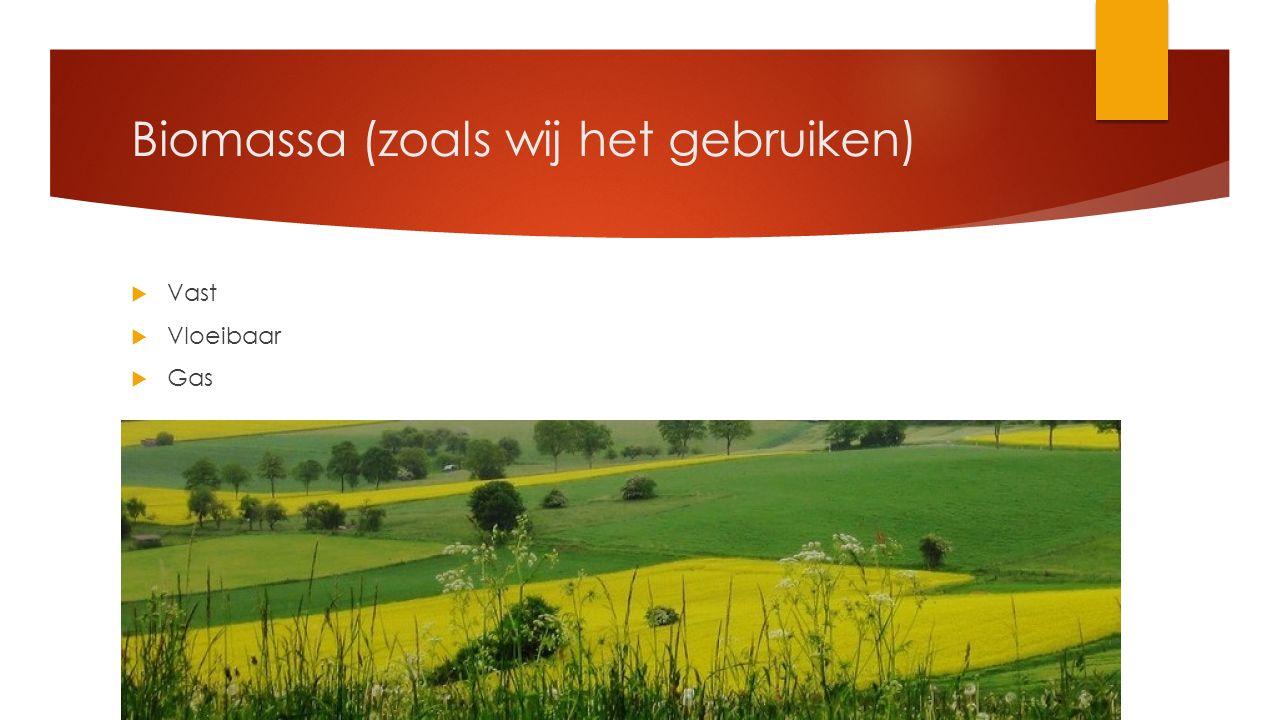 Biomassa  Vast  Houtsnippers, tuinafval, slibafval  Vloeibaar  Frituurvet, suikerwater, biodiesel, bio-ethanol  Gas  Methaan, houtgas, Koolmonoxide