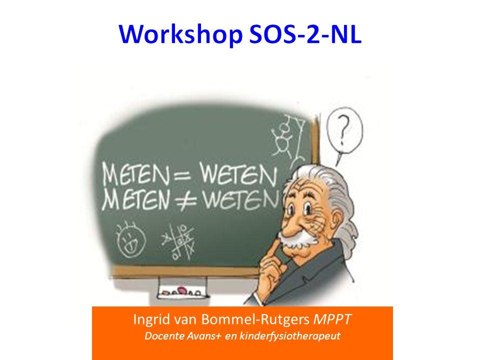 Doel workshop SOS-2-NL Systematische opsporing schrijfproblemen 1 Definities/ psychometrische eigenschappen SOS-2-NL SOS-2-NL versus BHK Afname SOS-2-NL Klinische waarde afname SOS-2-NL Klinisch redeneerproces (eerste 2 stappen) 1.