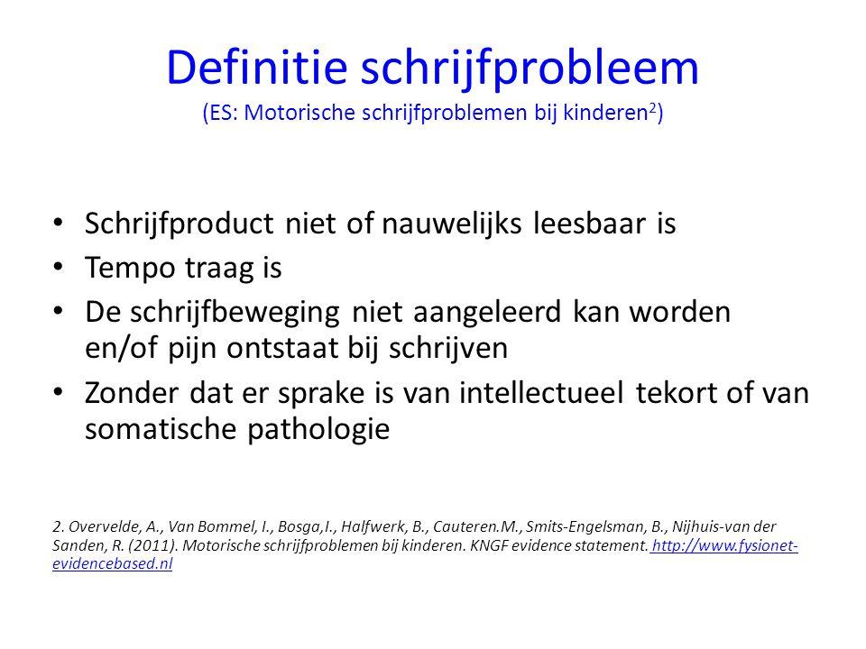Definitie schrijfprobleem (ES: Motorische schrijfproblemen bij kinderen 2 ) Schrijfproduct niet of nauwelijks leesbaar is Tempo traag is De schrijfbew