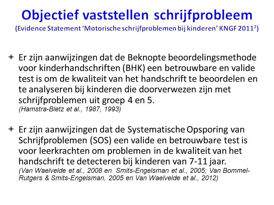 + Er zijn aanwijzingen dat de Beknopte beoordelingsmethode voor kinderhandschriften (BHK) een betrouwbare en valide test is om de kwaliteit van het ha