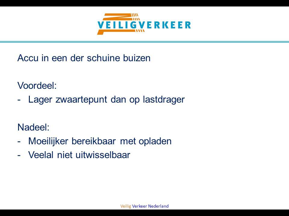 Veilig Verkeer Nederland Accu in een der schuine buizen Voordeel: -Lager zwaartepunt dan op lastdrager Nadeel: -Moeilijker bereikbaar met opladen -Vee