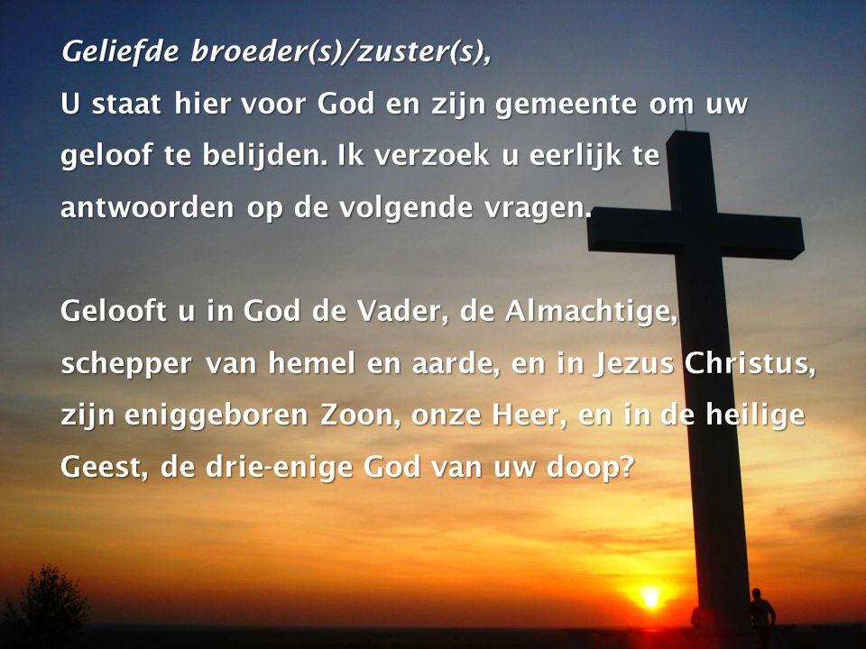 Geliefde broeder(s)/zuster(s), U staat hier voor God en zijn gemeente om uw geloof te belijden. Ik verzoek u eerlijk te antwoorden op de volgende vrag