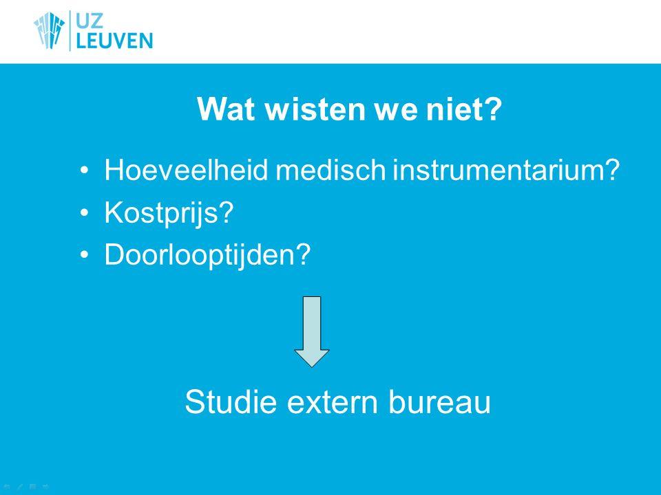 Wat wisten we niet? Hoeveelheid medisch instrumentarium? Kostprijs? Doorlooptijden? Studie extern bureau