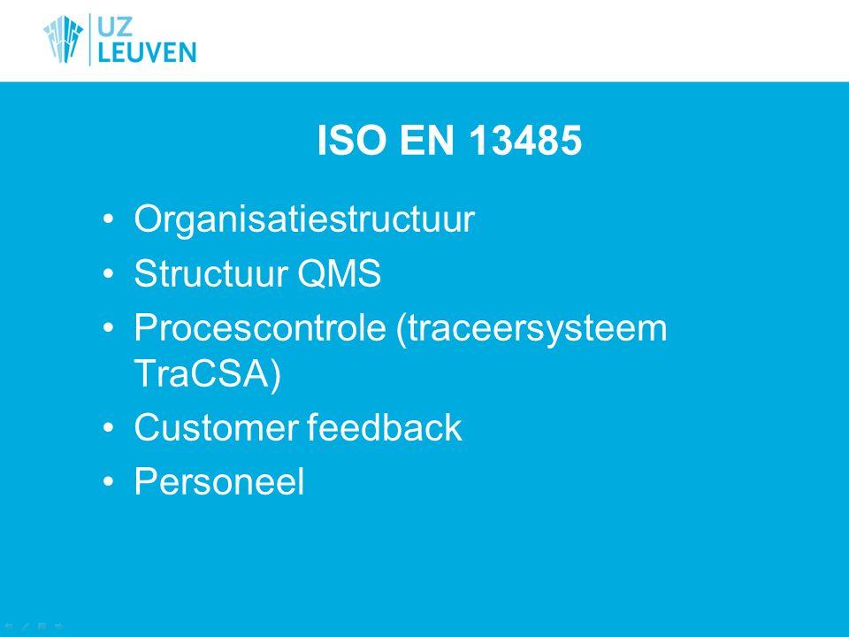 ISO EN 13485 Organisatiestructuur Structuur QMS Procescontrole (traceersysteem TraCSA) Customer feedback Personeel