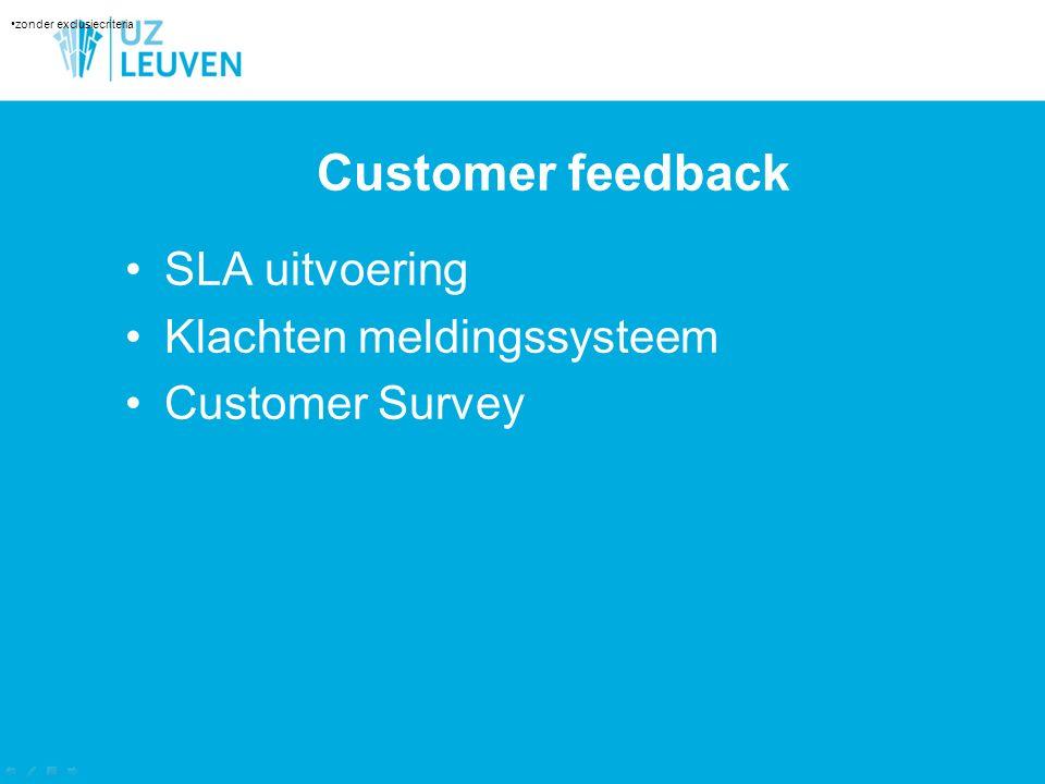 Customer feedback SLA uitvoering Klachten meldingssysteem Customer Survey Aantal lotnummers zonder exclusiecriteria