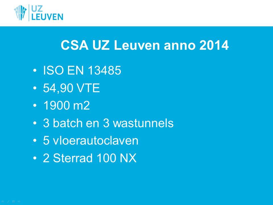 CSA UZ Leuven anno 2014 ISO EN 13485 54,90 VTE 1900 m2 3 batch en 3 wastunnels 5 vloerautoclaven 2 Sterrad 100 NX