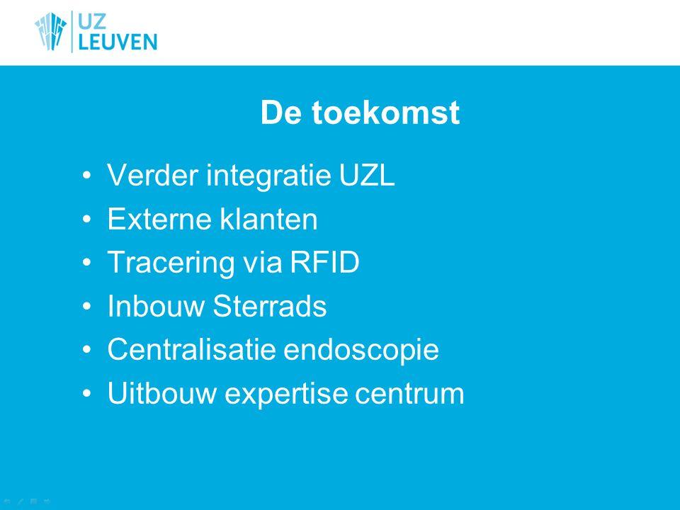 De toekomst Verder integratie UZL Externe klanten Tracering via RFID Inbouw Sterrads Centralisatie endoscopie Uitbouw expertise centrum