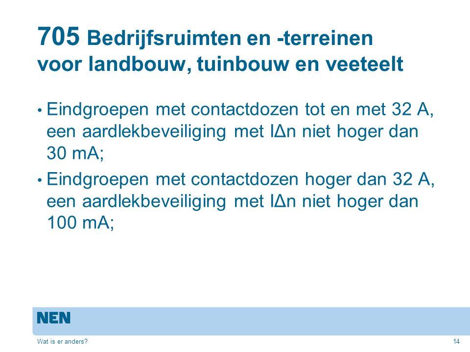 705 Bedrijfsruimten en -terreinen voor landbouw, tuinbouw en veeteelt Eindgroepen met contactdozen tot en met 32 A, een aardlekbeveiliging met IΔn nie