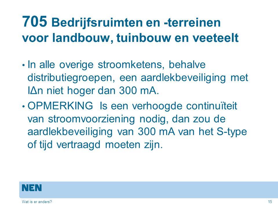 705 Bedrijfsruimten en -terreinen voor landbouw, tuinbouw en veeteelt In alle overige stroomketens, behalve distributiegroepen, een aardlekbeveiliging met IΔn niet hoger dan 300 mA.