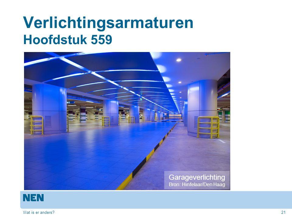 Verlichtingsarmaturen Hoofdstuk 559 Wat is er anders?21 Garageverlichting Bron: Hinfelaar/Den Haag