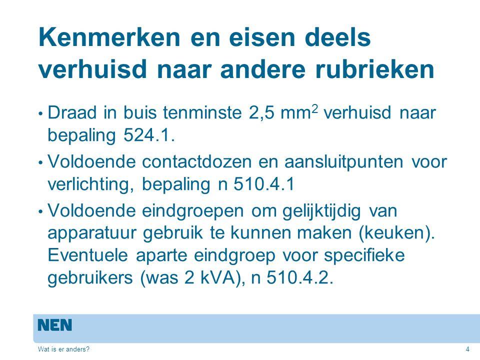 Kenmerken en eisen deels verhuisd naar andere rubrieken Draad in buis tenminste 2,5 mm 2 verhuisd naar bepaling 524.1.