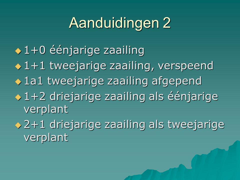 Aanduidingen 2  1+0 éénjarige zaailing  1+1 tweejarige zaailing, verspeend  1a1 tweejarige zaailing afgepend  1+2 driejarige zaailing als éénjarig