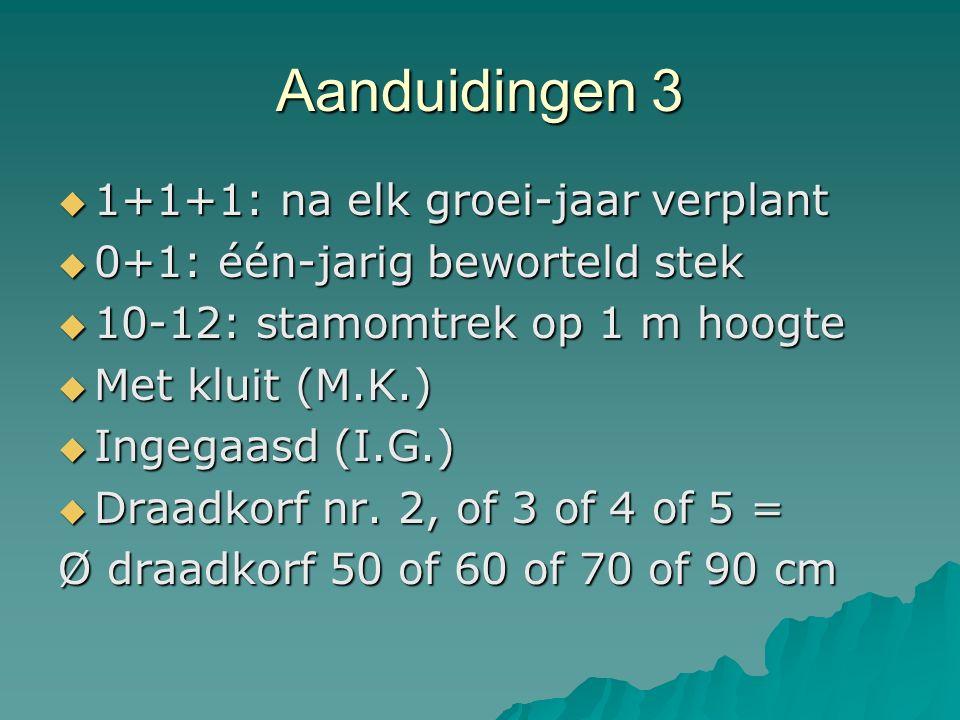Aanduidingen 3  1+1+1: na elk groei-jaar verplant  0+1: één-jarig beworteld stek  10-12: stamomtrek op 1 m hoogte  Met kluit (M.K.)  Ingegaasd (I