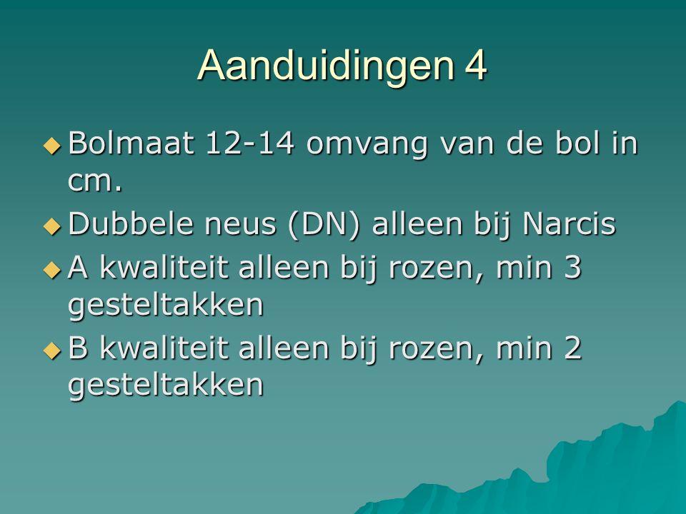 Aanduidingen 4  Bolmaat 12-14 omvang van de bol in cm.  Dubbele neus (DN) alleen bij Narcis  A kwaliteit alleen bij rozen, min 3 gesteltakken  B k