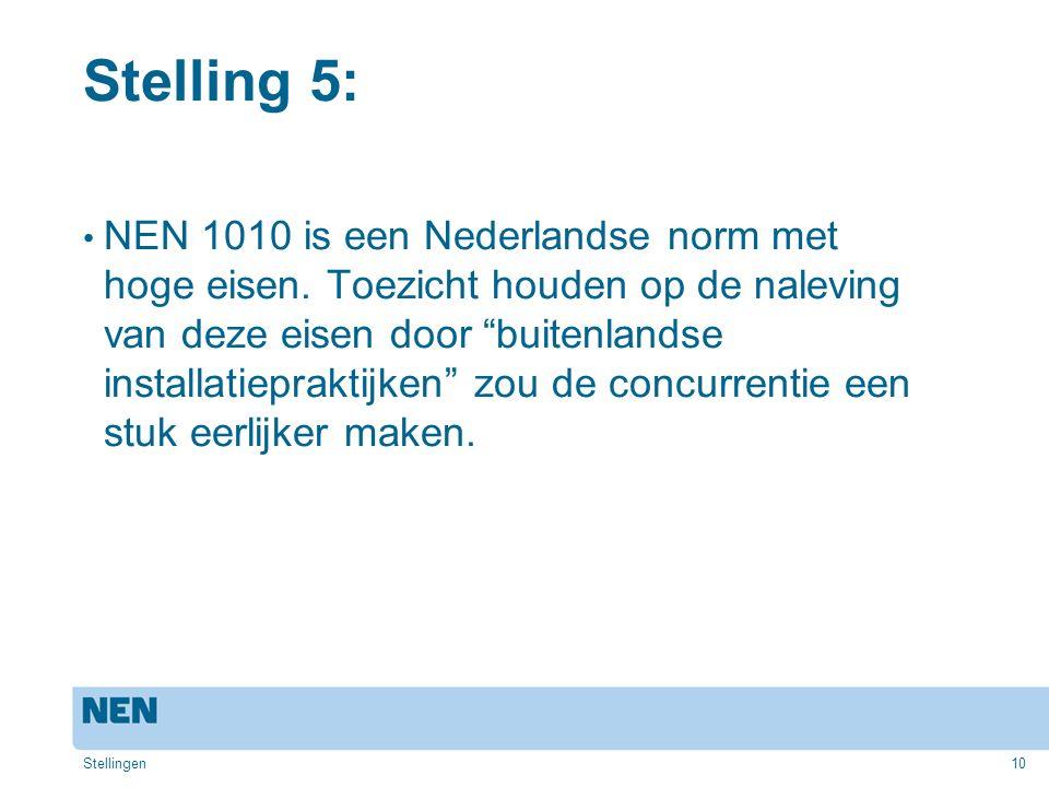 """10 Stelling 5: NEN 1010 is een Nederlandse norm met hoge eisen. Toezicht houden op de naleving van deze eisen door """"buitenlandse installatiepraktijken"""