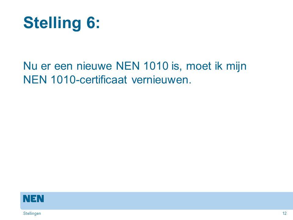 12 Stelling 6: Nu er een nieuwe NEN 1010 is, moet ik mijn NEN 1010-certificaat vernieuwen. Stellingen