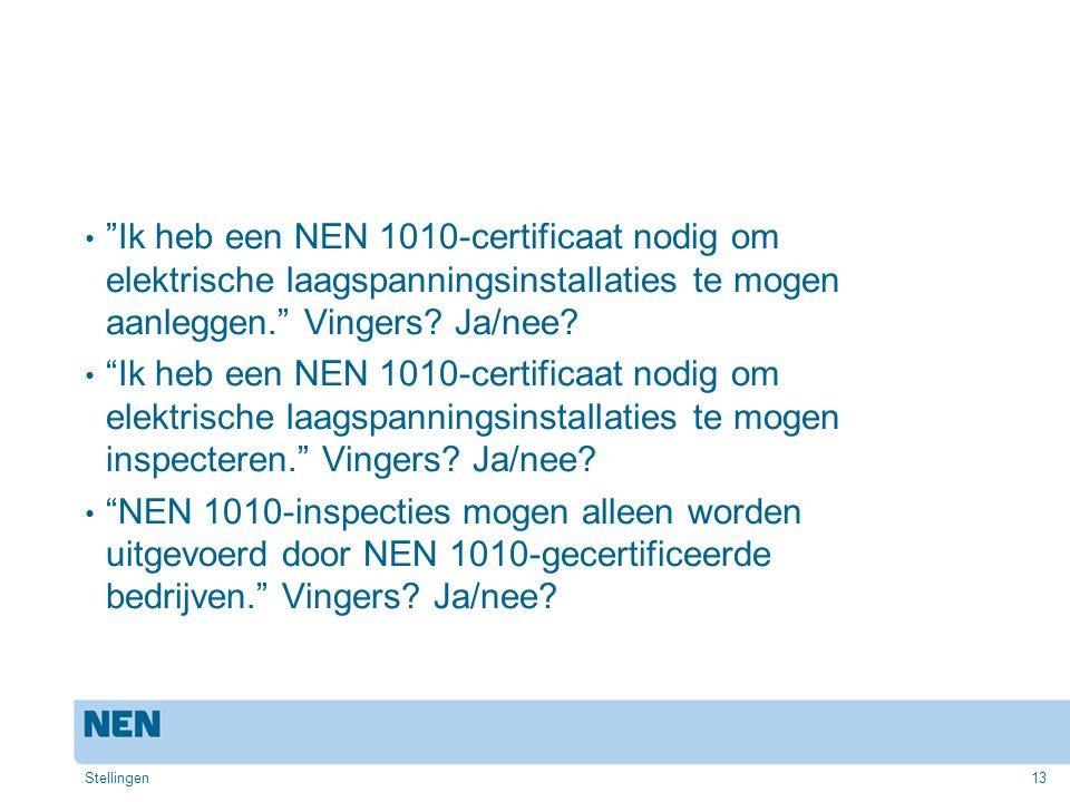 """13 """"Ik heb een NEN 1010-certificaat nodig om elektrische laagspanningsinstallaties te mogen aanleggen."""" Vingers? Ja/nee? """"Ik heb een NEN 1010-certific"""