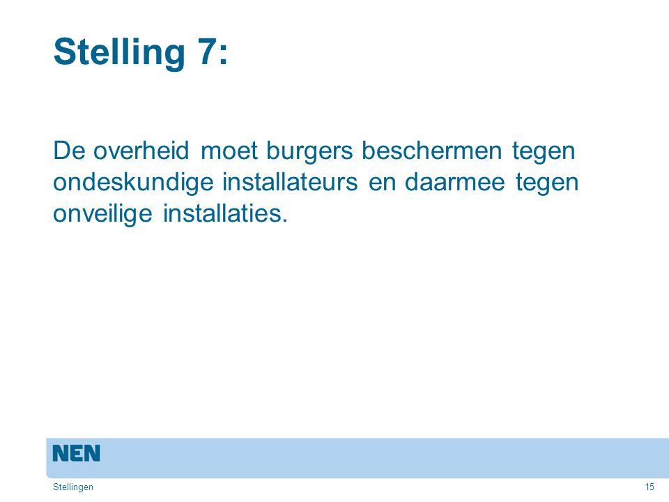 15 Stelling 7: De overheid moet burgers beschermen tegen ondeskundige installateurs en daarmee tegen onveilige installaties. Stellingen