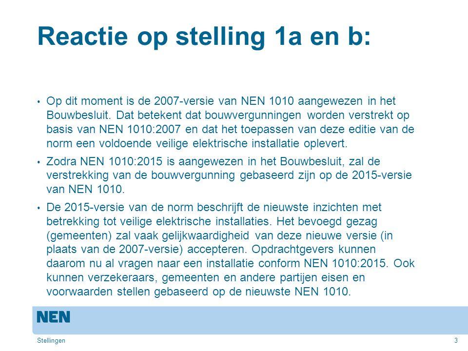 3 Reactie op stelling 1a en b: Op dit moment is de 2007-versie van NEN 1010 aangewezen in het Bouwbesluit. Dat betekent dat bouwvergunningen worden ve