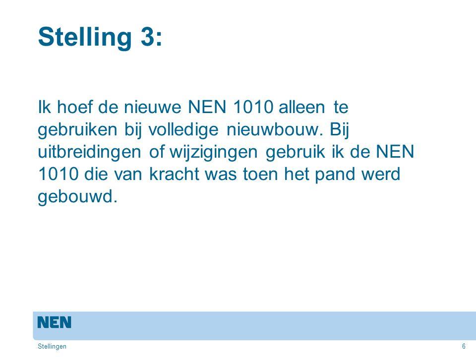 6 Stelling 3: Ik hoef de nieuwe NEN 1010 alleen te gebruiken bij volledige nieuwbouw. Bij uitbreidingen of wijzigingen gebruik ik de NEN 1010 die van