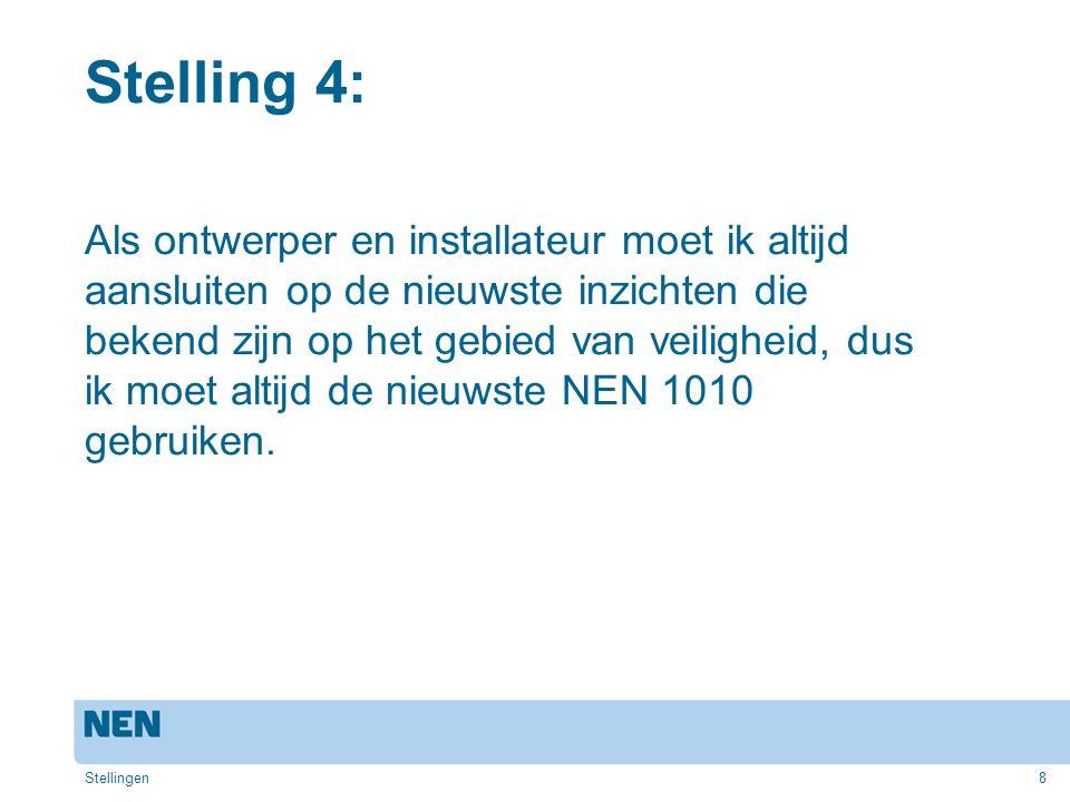 9 Reactie op stelling 4: De meest recente NEN 1010 geeft de nieuwste inzichten weer op het gebied van veiligheid.