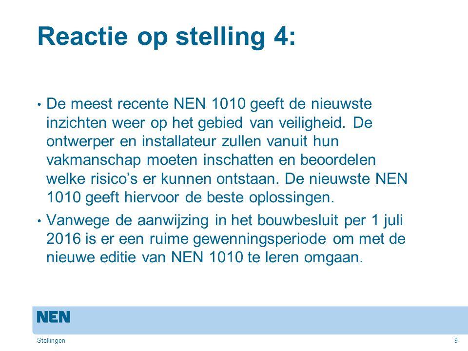 10 Stelling 5: NEN 1010 is een Nederlandse norm met hoge eisen.