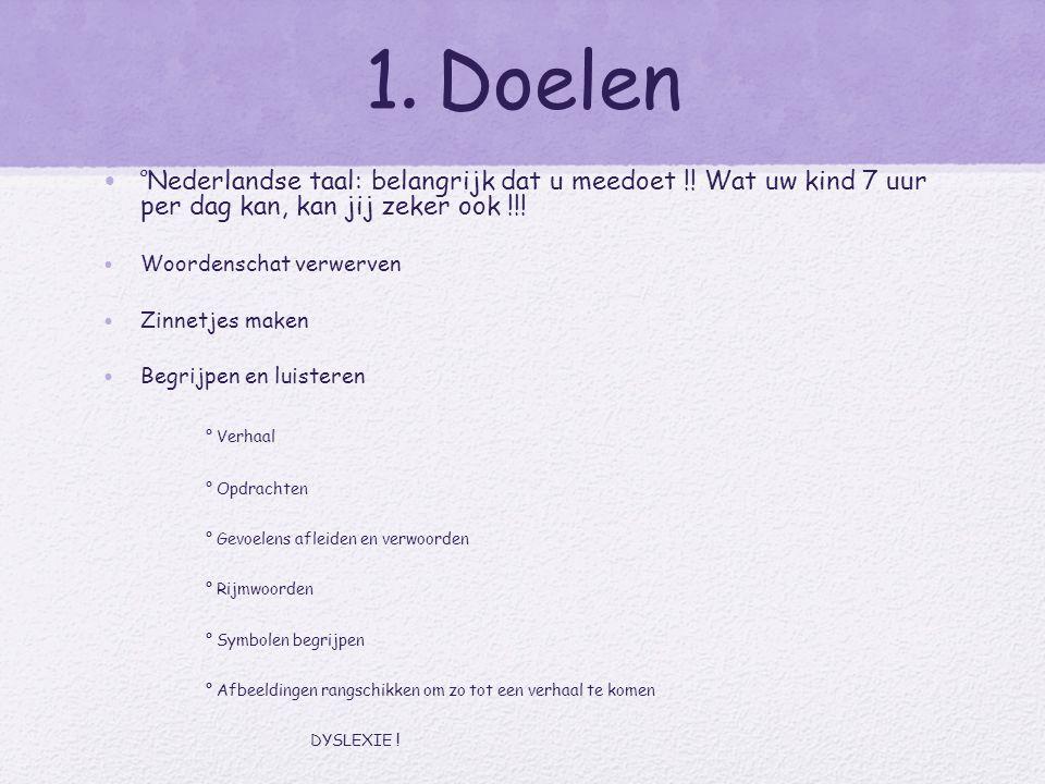 1. Doelen ° Nederlandse taal: belangrijk dat u meedoet !.