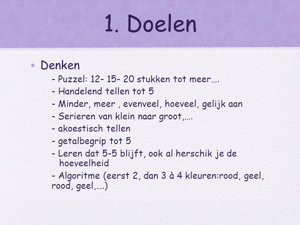 1. Doelen Denken - Puzzel: 12- 15- 20 stukken tot meer….