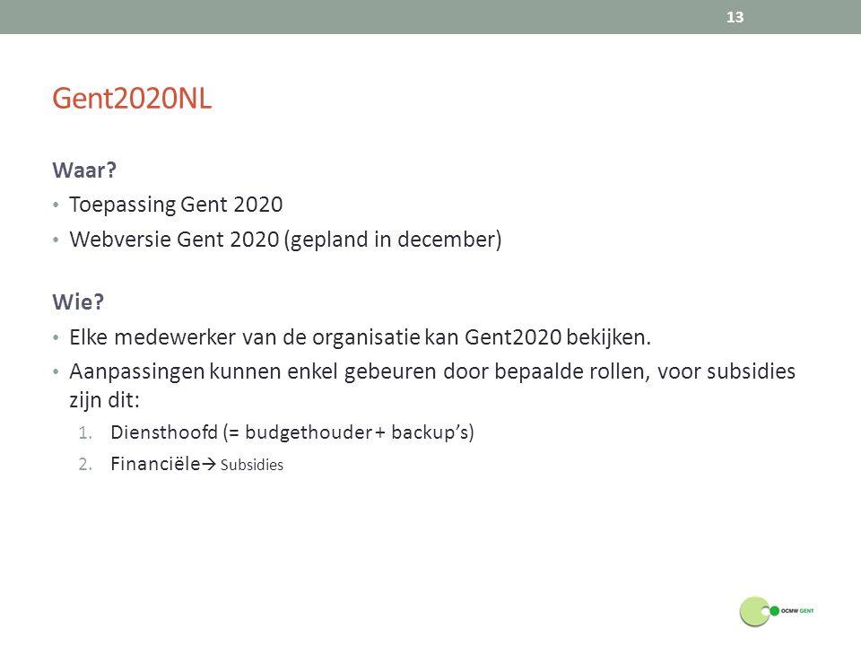 Gent2020NL Waar.Toepassing Gent 2020 Webversie Gent 2020 (gepland in december) Wie.